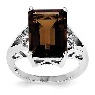 Sterling Silver Rhodium Smoky Quartz /& Diamond Ring QR2782 Size 6-8