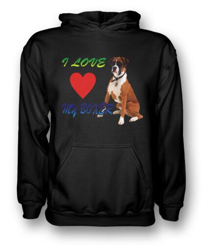 I Love My Boxer Dog-Uomo Felpa con Cappuccio