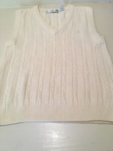 1b7596c80b12 Image is loading Vintage-Gloria-Vanderbilt-White-Sleeveless-Fine-Knit- Sweater-
