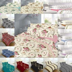 Image Is Loading Flannelette 100 Cotton Printed Bed Sheets Set SINGLE