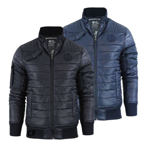 Mens Crosshatch Chesney Padded Quilted Zip Up Bomber Jacket Bubble Coat s-xxl