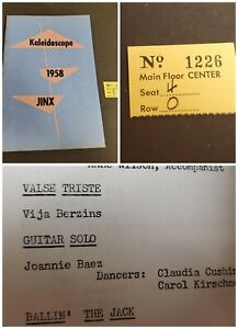 Joan-Baez-High-School-Show-Program-1957-ticket-stub-Near-Mint