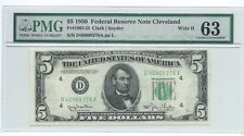 1950 $5 CLEVELAND Federal Reserve Note Wide II  PMG 63 Choice Uncirculated