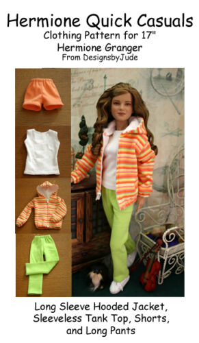 Quick Casuals Doll Clothes Sewing Pattern for Hermione /& Nancy Drew Tonner
