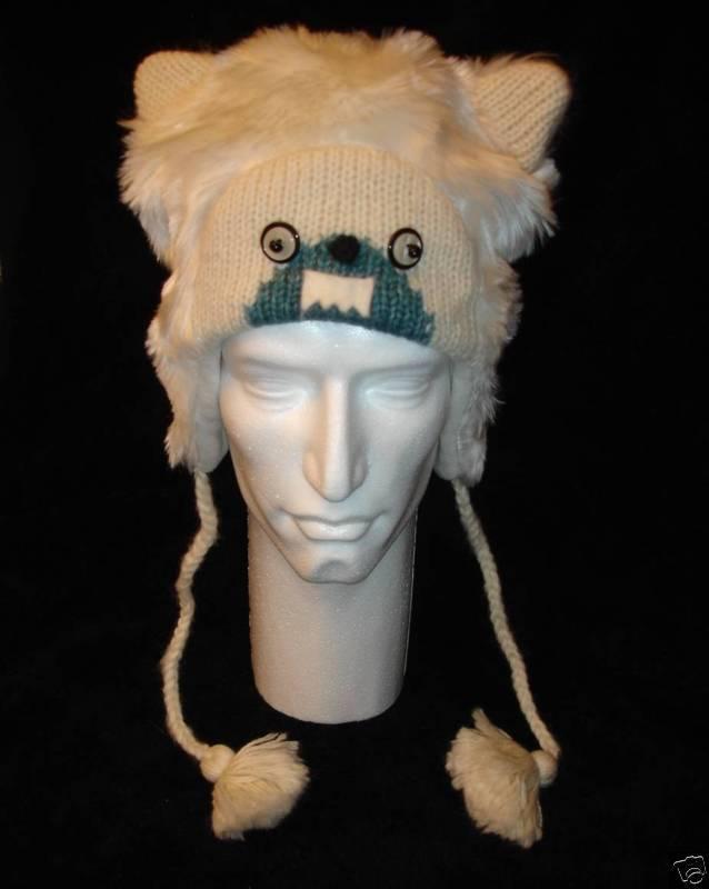Animal costume with ear flaps Yeti beanie