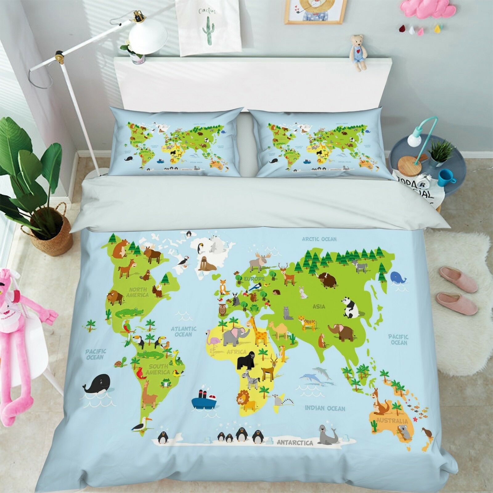 3D World Map 206 Bed Pillowcases Quilt Duvet Cover Set Single Queen King Size AU