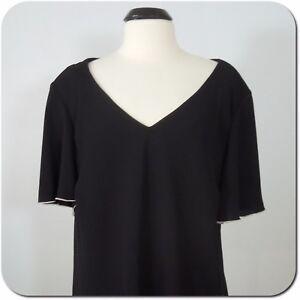 Black Rainn Womens VNECK L//S TUNIC Open Stitch V-Neck Blouse Tunic BHFO 5752