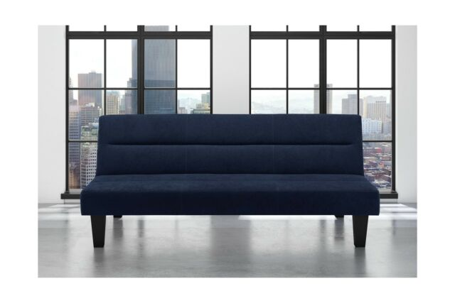 Sensational Futon Sofa Bed Blue Microfiber Couch Folding Upholstered Sleeper Dailytribune Chair Design For Home Dailytribuneorg