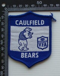 RARE VINTAGE VFA CAULFIELD BEARS EMBROIDERED WOVEN VIC FOOTY VFL SEW-ON BADGE
