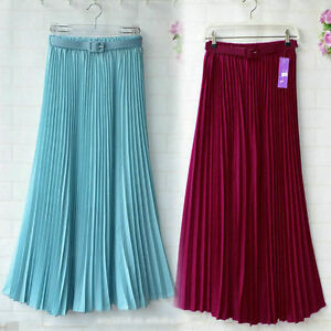 Retro-Pleated-Maxi-Long-Skirt-Elastic-WaistBand-Belt-Chiffon-Boho-Dance-Dress