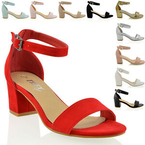 Details about Womens Low Mid Heel Block Peep Toe Ladies Ankle Strap Party Strappy Sandals 3 8