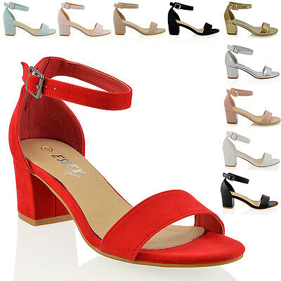 Womens Low Mid Heel Block Peep Toe Ladies Ankle Strap Party Strappy Sandals 3 8 | eBay