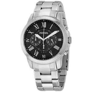 c0ee9158e Image is loading Fossil-Grant-Chronograph-Black-Dial-Stainless-Steel-Men-