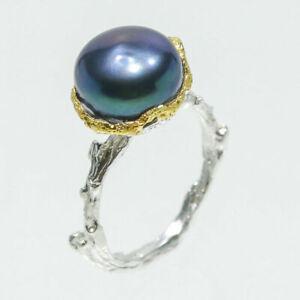 Klassischer Ring Natural Black Pearl 14mm. 925 Sterling Silber Ring / RVS139