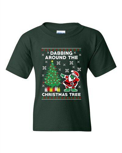 Dabbing Around The Christmas Tree Santa Ugly Xmas Funny DT Youth T-Shirt Tee