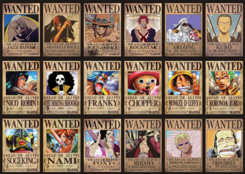 STICKER AUTOCOLLANT POSTER A4 MANGA ONE PIECE.WANTED LUFFY EQUIPAGE ZORO CHOPPER