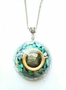 Necklace-Orgone-Orgonite-Cubic-Pyrite-pendant-Amazonite-Chakra-new-age-Reiki
