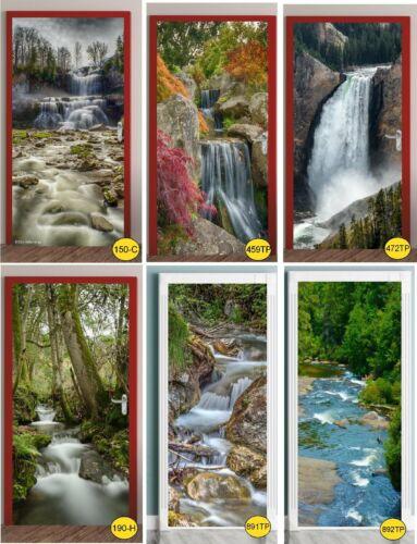Türtapete Wasserfall Türposter   selbstklebend Natur Steine Moos Fluss 1176tp
