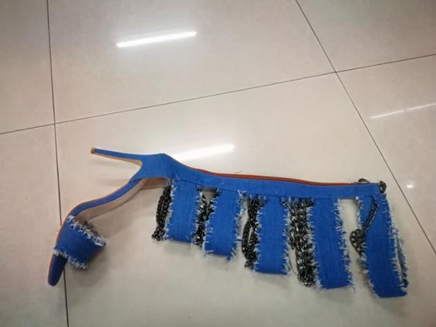Mujer Romano Gladiador Stiletto Peep Toe Zapatos de tacón cadena Romano Mujer Punk Denim la rodilla botas altas 0a4a38