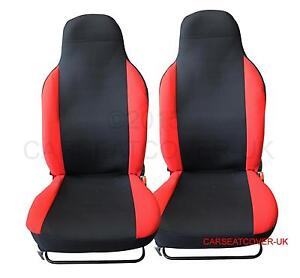 MG MOTOR UK MG3 Front PAIR of Red LEATHER LOOK Car Seat Covers