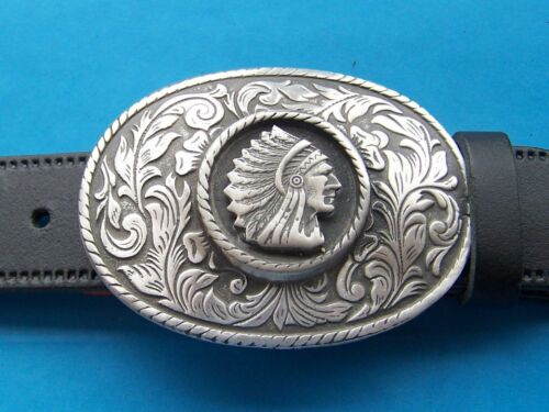 Belt Buckle Native American Indian Chief Rodeo Cowboy Western FREE UK POST