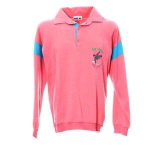Vintage-Pullover-Gr-L-Langarmshirt-Rosa-Sweatshirt-Retro-Print-Kragen