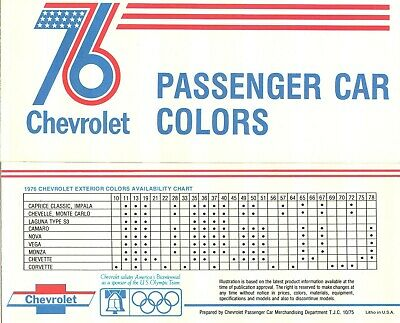 + 1977 Chevrolet Factory Colors Brochure w//Paint Chips Camaro Monte Carlo Monza