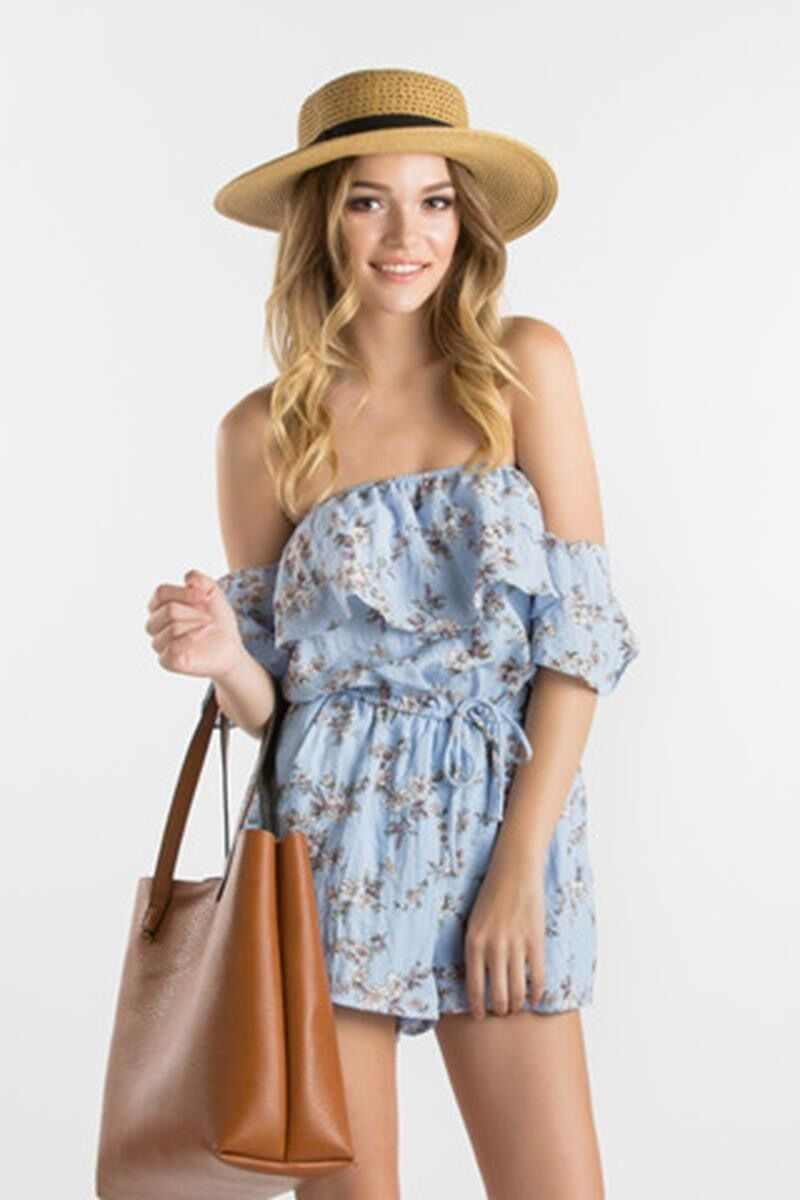 Everly Floral Print Off Shoulder Tiered Romper White Ivory or Sky bluee EC2862 63
