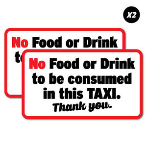 2x no food or drink in this taxi uber sticker decal shopfront trading 7352en ebay. Black Bedroom Furniture Sets. Home Design Ideas