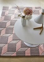 Plantation Geometric Pink Grey 06 Luxury Wool Rug In Various Sizes