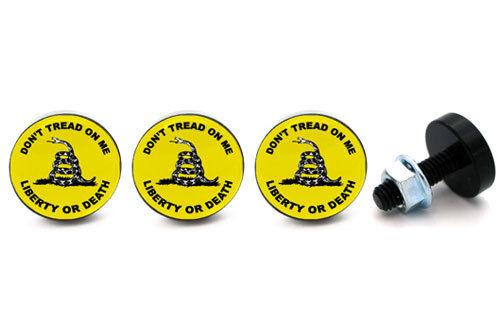 "Custom License Plate Frame Tag Bolts /""Don/'t Tread/"" 4 Black Billet Aluminum"