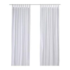IKEA-1-Paire-Long-Transparent-Blanc-100-coton-Matilda-Tab-rideaux-a-surpiqures