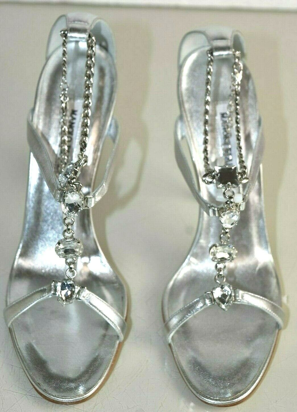 1400 NEW Manolo Blahnik PREFE Jeweled Sandals CRYSTALS    Silver Wedding shoes 41 333273