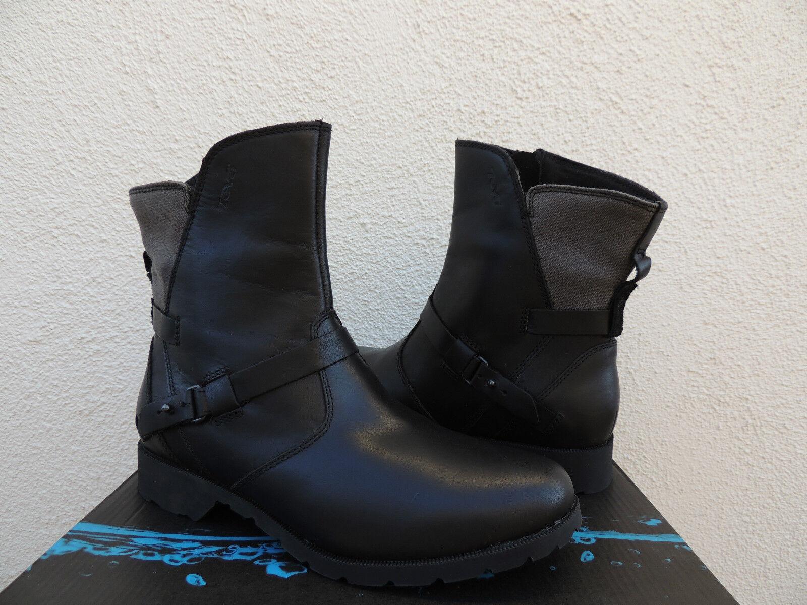 TEVA DE LA LA DE VINA BLACK/ GRAY WATERPROOF LEATHER ANKLE Stiefel, US 5.5/  36.5  NIB 2a2f29