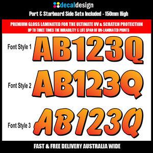Boat-Rego-Decal-Set-150mm-Registration-Stickers-VIC-NSW-SA-TAS-WA-orange-PREMIUM