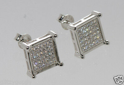 Mens Sterling Silver Clear CZ stud earrings Square Shape 10mm Cubic Zirconia