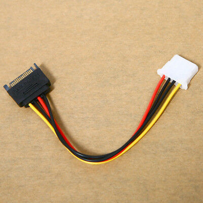 KQ/_ 4-Pin Male to IDE SATA 15-Pin Female Connector Cord Power Drive Adapter HK