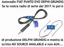 "Cavo 1,4MT Aux Kit MP3 iPod Punto EVO 150 ""NO SOURCE AVAILABLE"" Grundig Delphi"