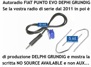 "Cavo 1,4MT Aux Kit MP3 iPod Punto EVO 150 /""NO SOURCE AVAILABLE/"" Grundig Delphi"
