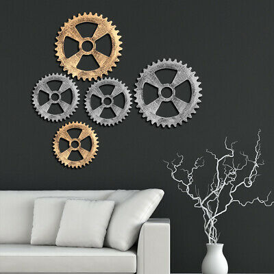 Steampunk Wooden Cogs Wall Hangings Gear Ornament Home Room Decor Art Craft Gold Ebay