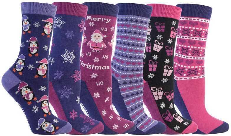 Femmes Noël Design Nouveauté Chaussettes Par Festive Feet