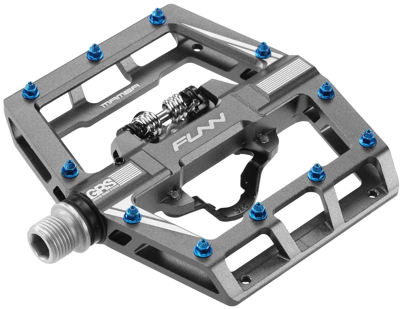 Funn Mamba MTB Pedal Set SPD Compatible Single Side Clip Gray
