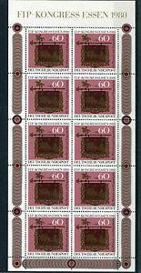 10-x-Bund-Nr-1065-postfrisch-KB-Bogen-Kleinbogen-BRD-Tag-der-Briefmarke-1980