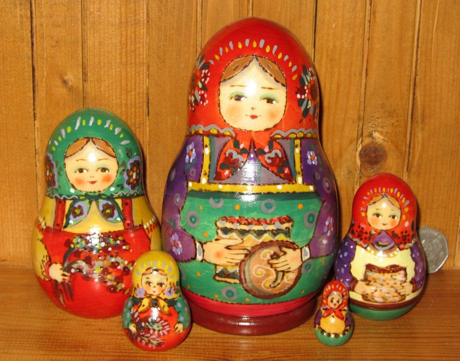 Russian nesting doll 5 HAND PAINTED TRADITIONAL Martryoshka RYABOVA