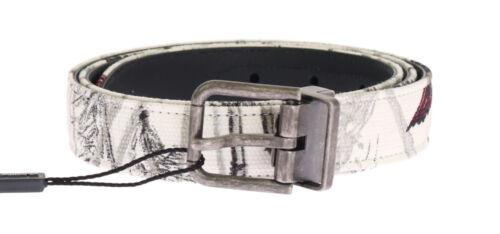 NEW $360 DOLCE /& GABBANA Belt White Denim Bird Print Leather Mens 95cm 38in