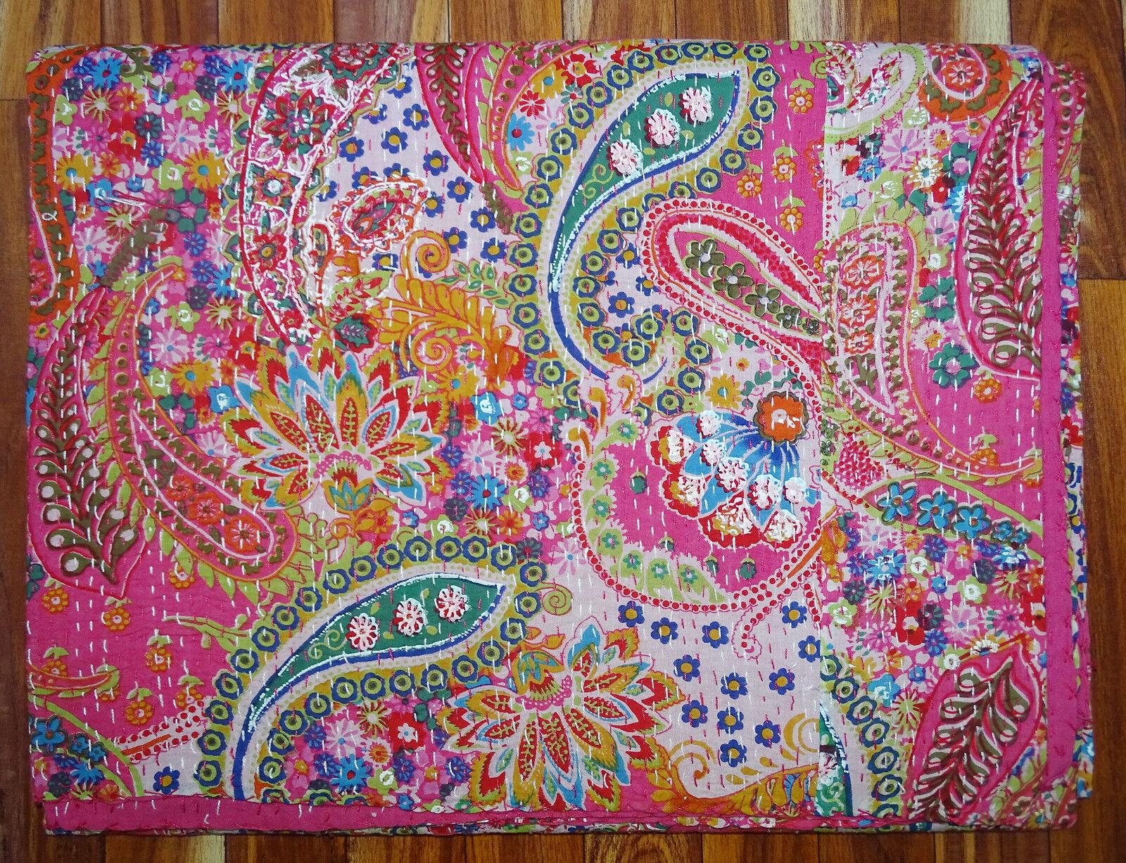 Kantha Quilt Twin Size Bedcover Handmade Cotton Bedsheet Pink Paisley Gudari