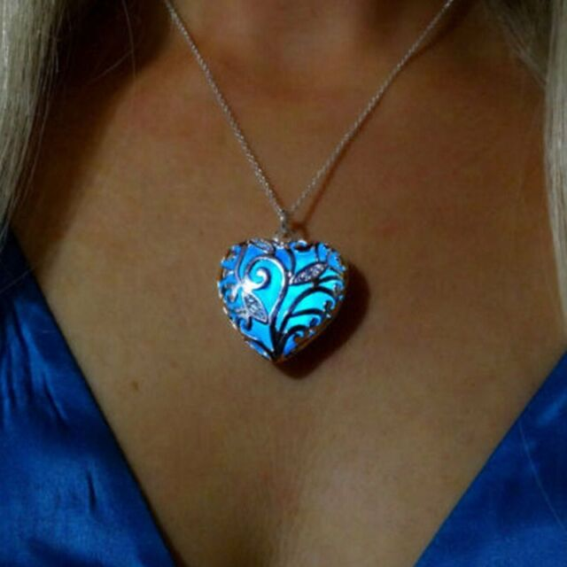 Hot Glowing Blue Silver Heart Glow In The Dark Pendant Necklace Women Jewelry