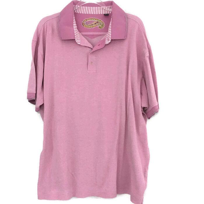 ROBERT GRAHAM Lavender Short Sleeve Polo Shirt Size 2XB