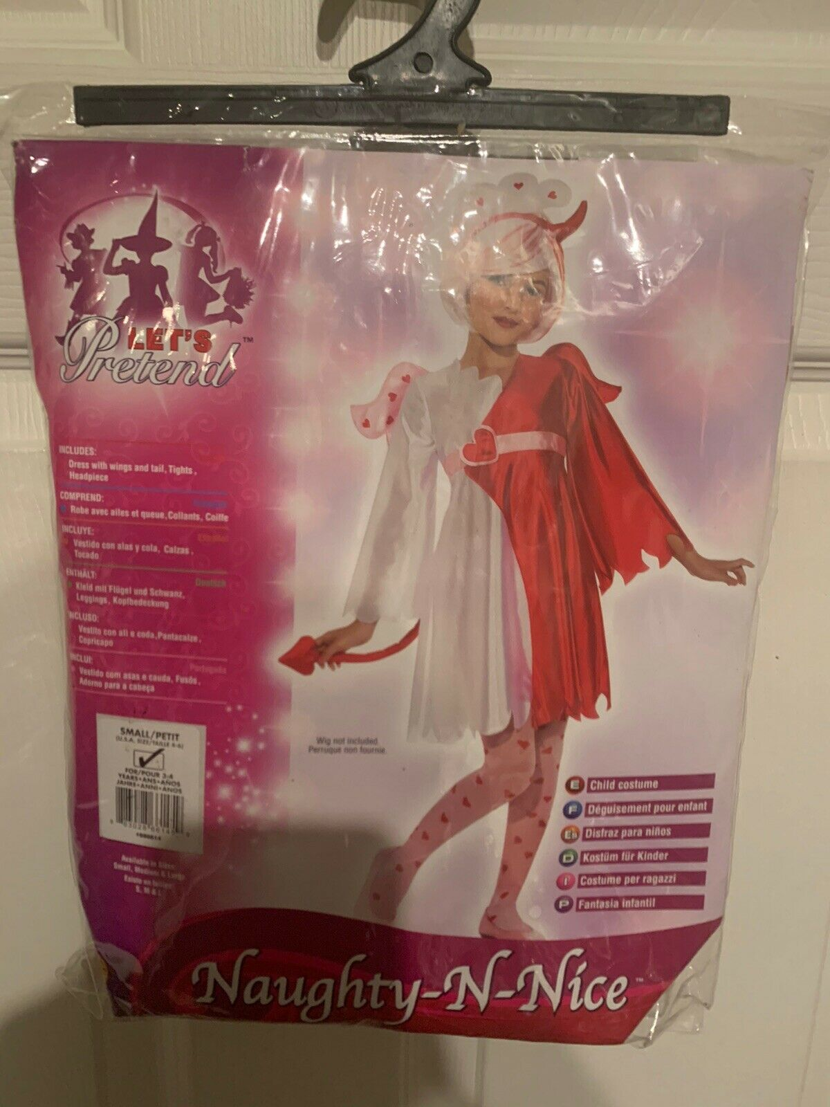 New Naughty 'n Nice Costume Devil Angel Dress Tail Wings Tights Hdp Child Size S