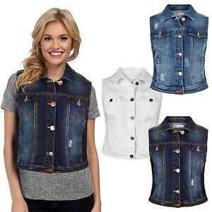 Ladies Denim Vest Women Girls Jacket Faded Sleeveless Jeans Top Slim Fit Coat | eBay